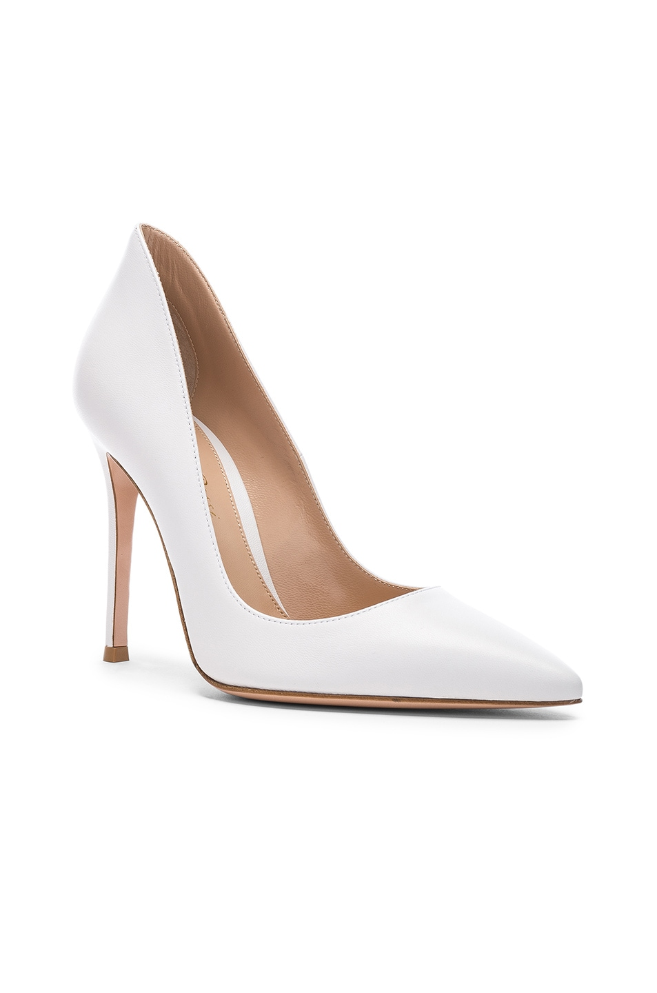 Image 2 of Gianvito Rossi Leather Ellipsis Pumps in White