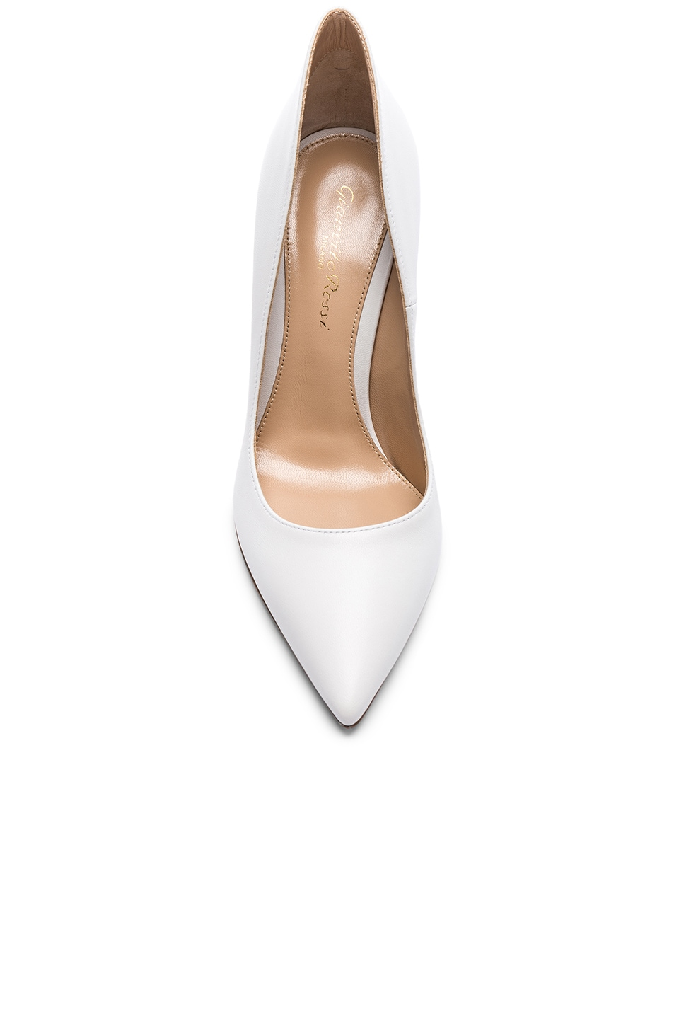 Image 4 of Gianvito Rossi Leather Ellipsis Pumps in White