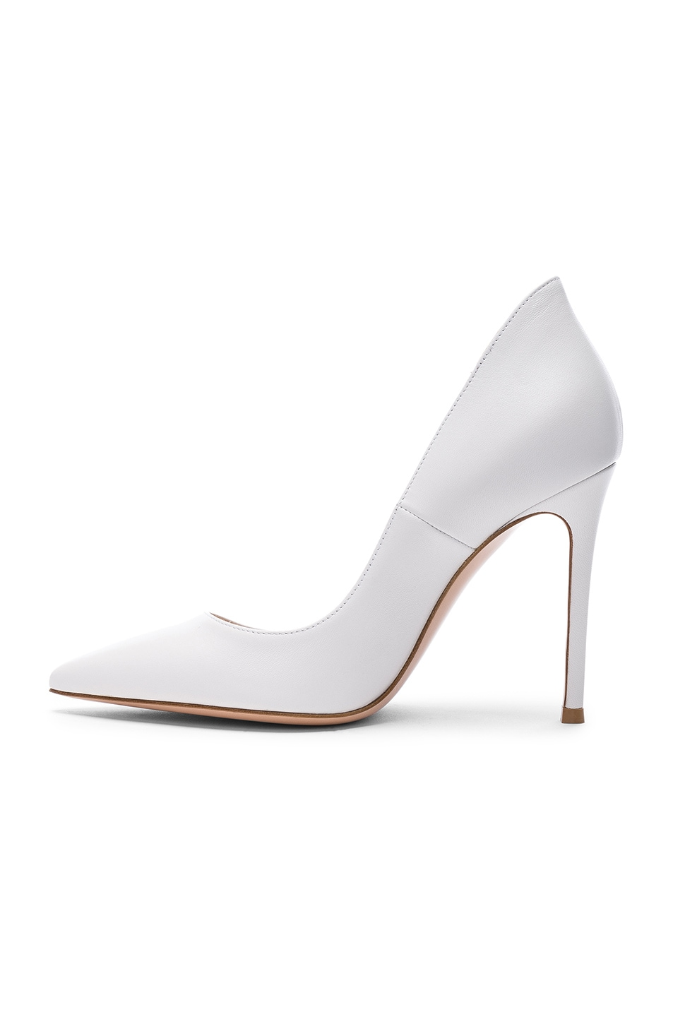 Image 5 of Gianvito Rossi Leather Ellipsis Pumps in White