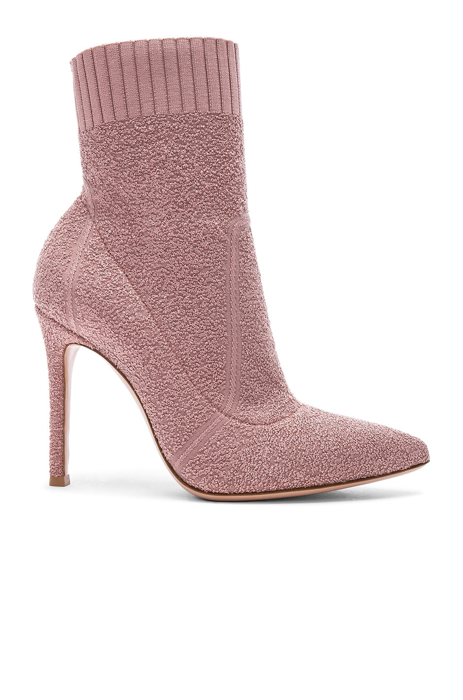 Image 1 of Gianvito Rossi Boucle Knit Fiona Ankle Booties in Dahlia