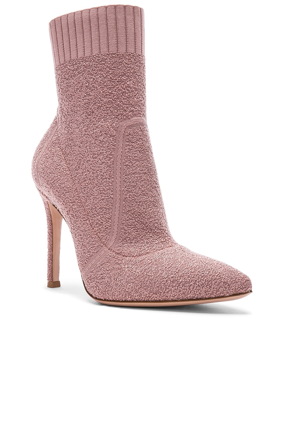 Image 2 of Gianvito Rossi Boucle Knit Fiona Ankle Booties in Dahlia