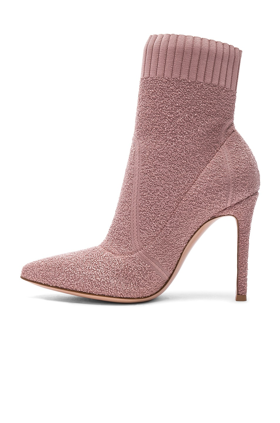Image 5 of Gianvito Rossi Boucle Knit Fiona Ankle Booties in Dahlia
