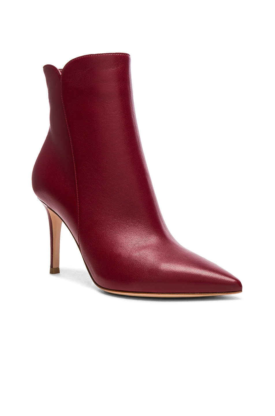 Image 2 of Gianvito Rossi Leather Levy Ankle Boots in Syrah