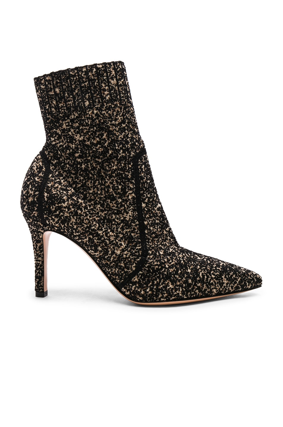 Image 1 of Gianvito Rossi Boucle Knit Katie Ankle Booties in Black & Bisque