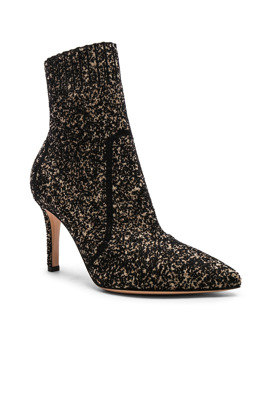 Image 2 of Gianvito Rossi Boucle Knit Katie Ankle Booties in Black & Bisque