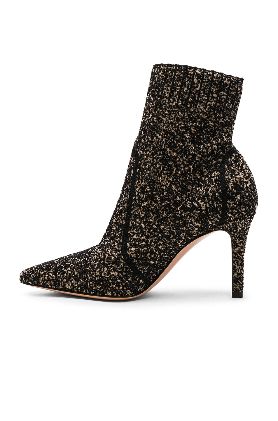 Image 5 of Gianvito Rossi Boucle Knit Katie Ankle Booties in Black & Bisque