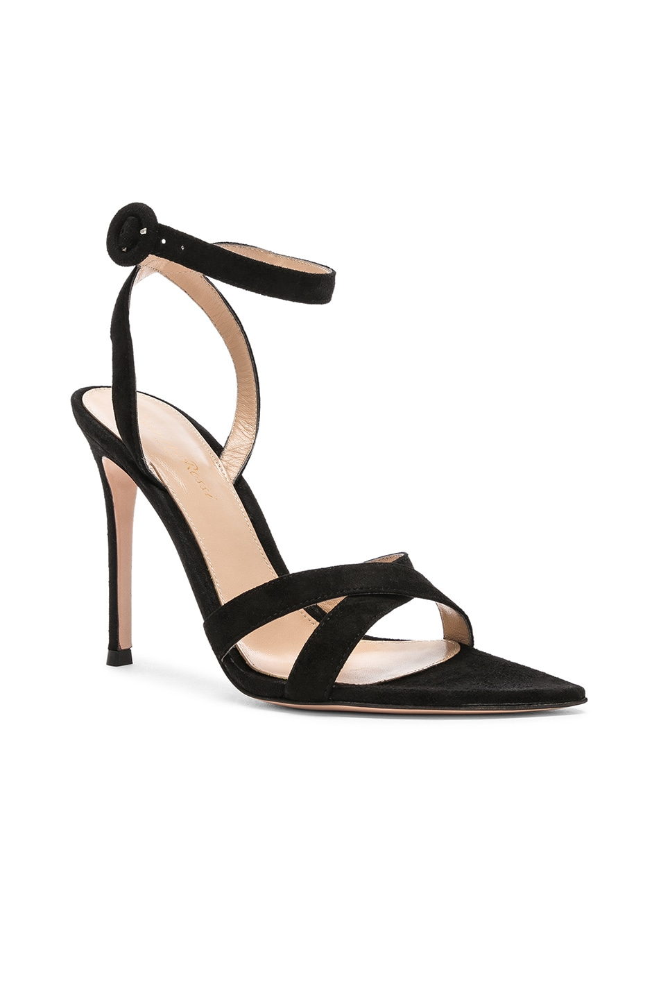 Image 2 of Gianvito Rossi Suede Alixia Ankle Strap Sandals in Black