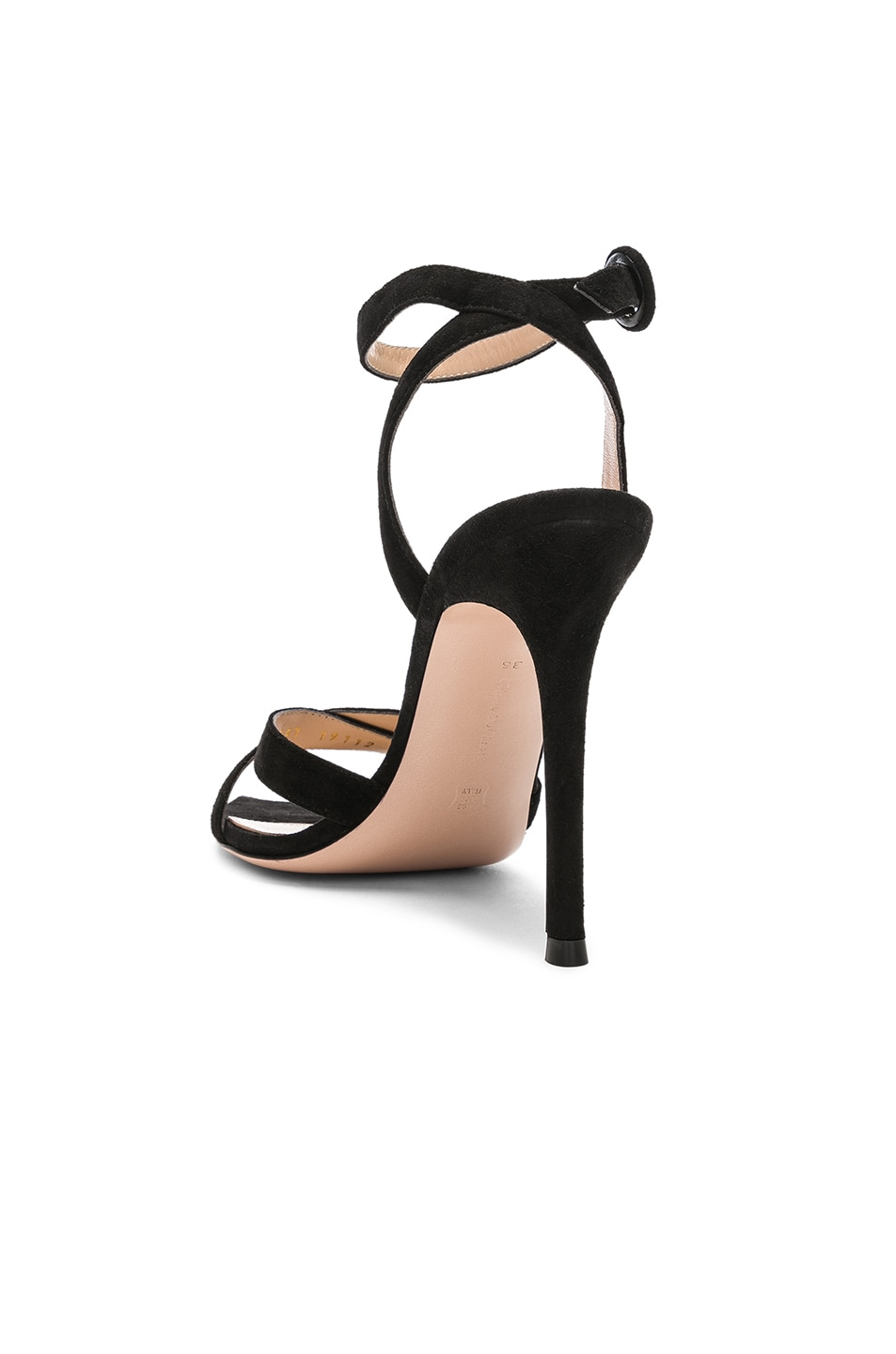 Image 3 of Gianvito Rossi Suede Alixia Ankle Strap Sandals in Black