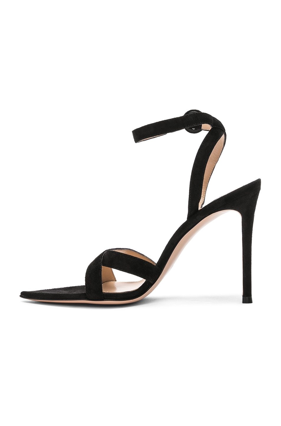 Image 5 of Gianvito Rossi Suede Alixia Ankle Strap Sandals in Black