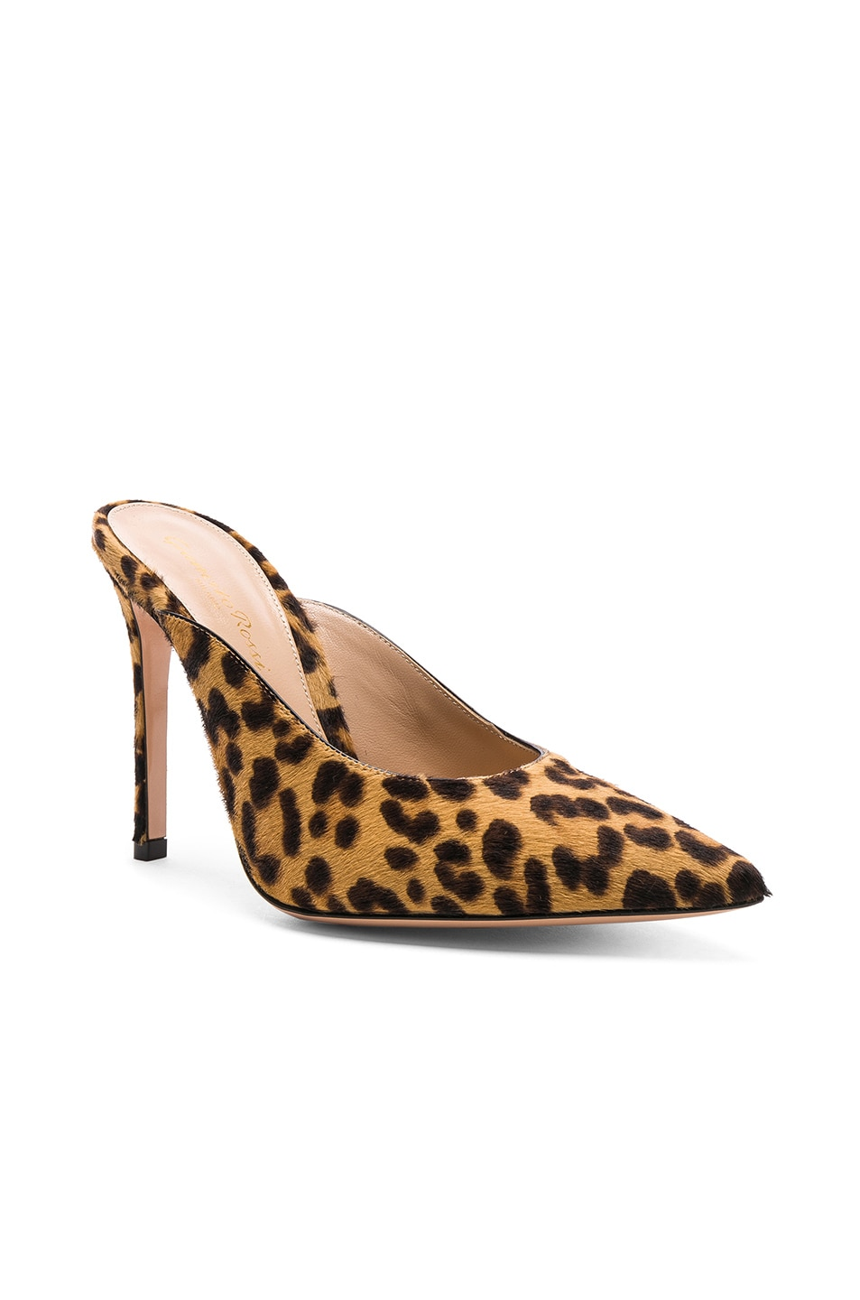 Image 2 of Gianvito Rossi Calf Hair Lyle Mules in Leopard & Black