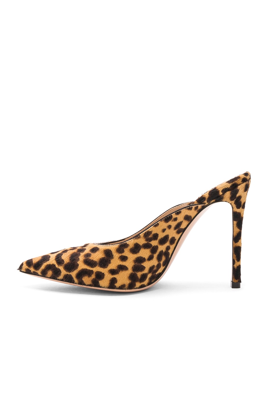 Image 5 of Gianvito Rossi Calf Hair Lyle Mules in Leopard & Black