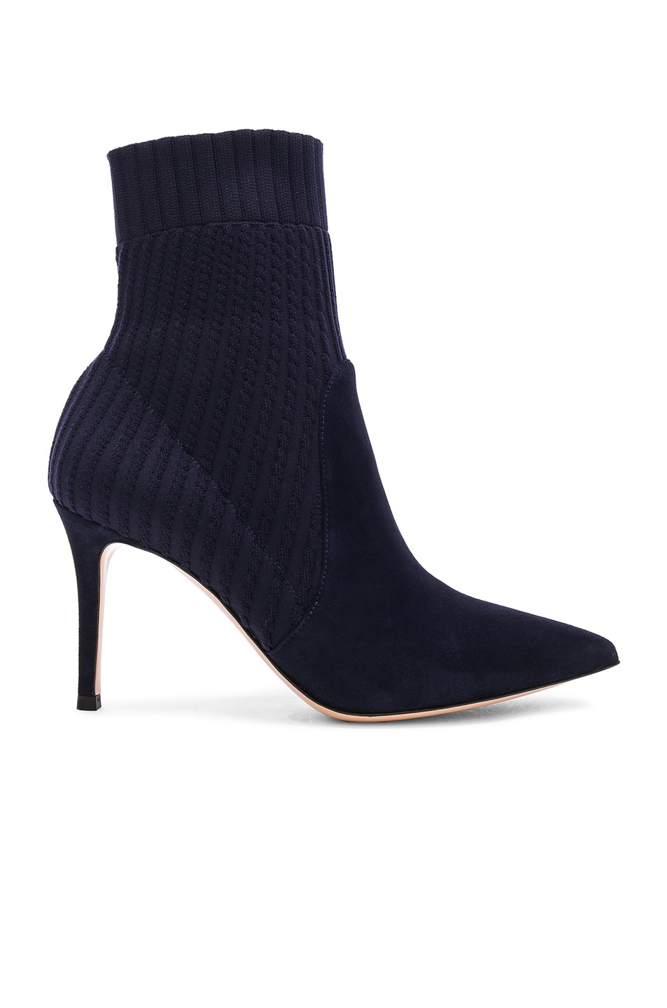 Image 1 of Gianvito Rossi Suede & Knit Katie Ankle Boots in Denim