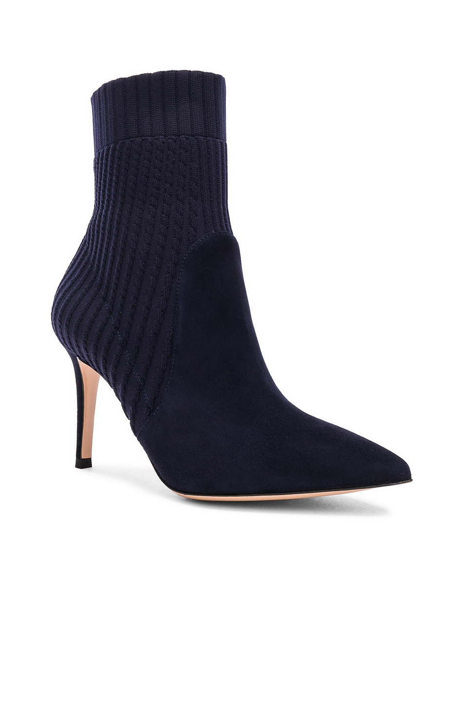 Image 2 of Gianvito Rossi Suede & Knit Katie Ankle Boots in Denim