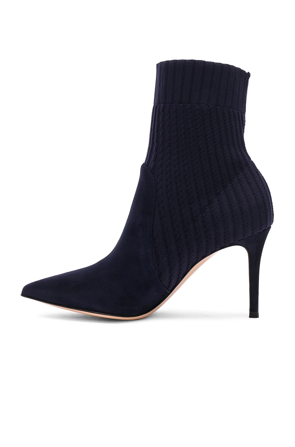 Image 5 of Gianvito Rossi Suede & Knit Katie Ankle Boots in Denim
