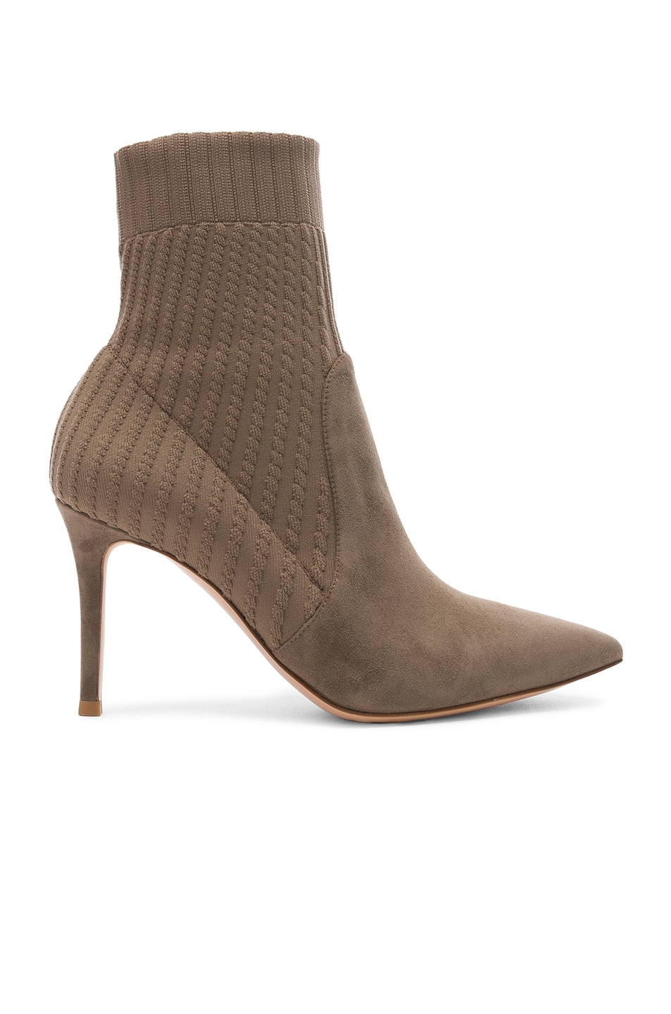 Image 1 of Gianvito Rossi Suede & Knit Katie Ankle Boots in Mud & Bisque