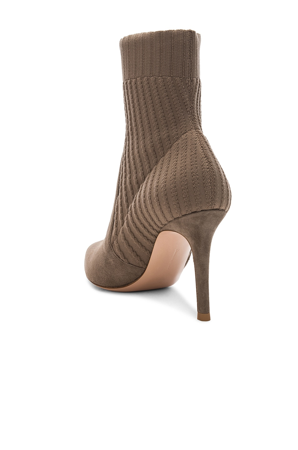 Image 3 of Gianvito Rossi Suede & Knit Katie Ankle Boots in Mud & Bisque