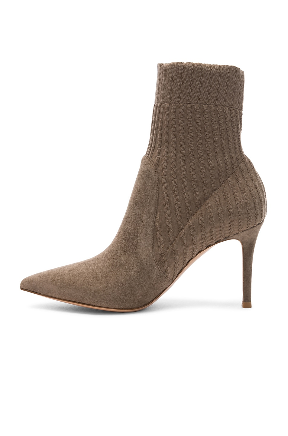 Image 5 of Gianvito Rossi Suede & Knit Katie Ankle Boots in Mud & Bisque