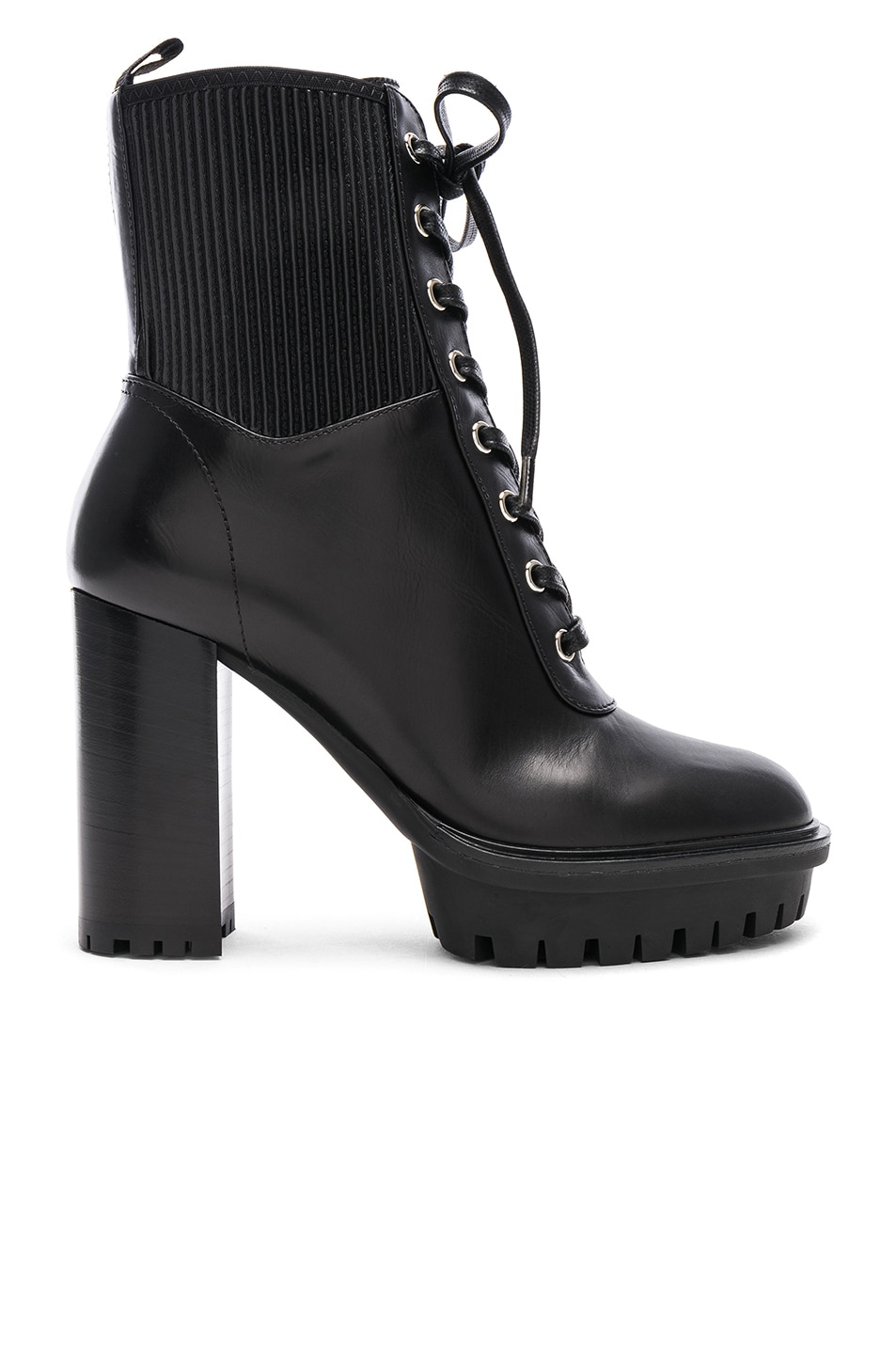 Image 1 of Gianvito Rossi Leather & Eco Stretch Martis Platform Ankle Boots in Black