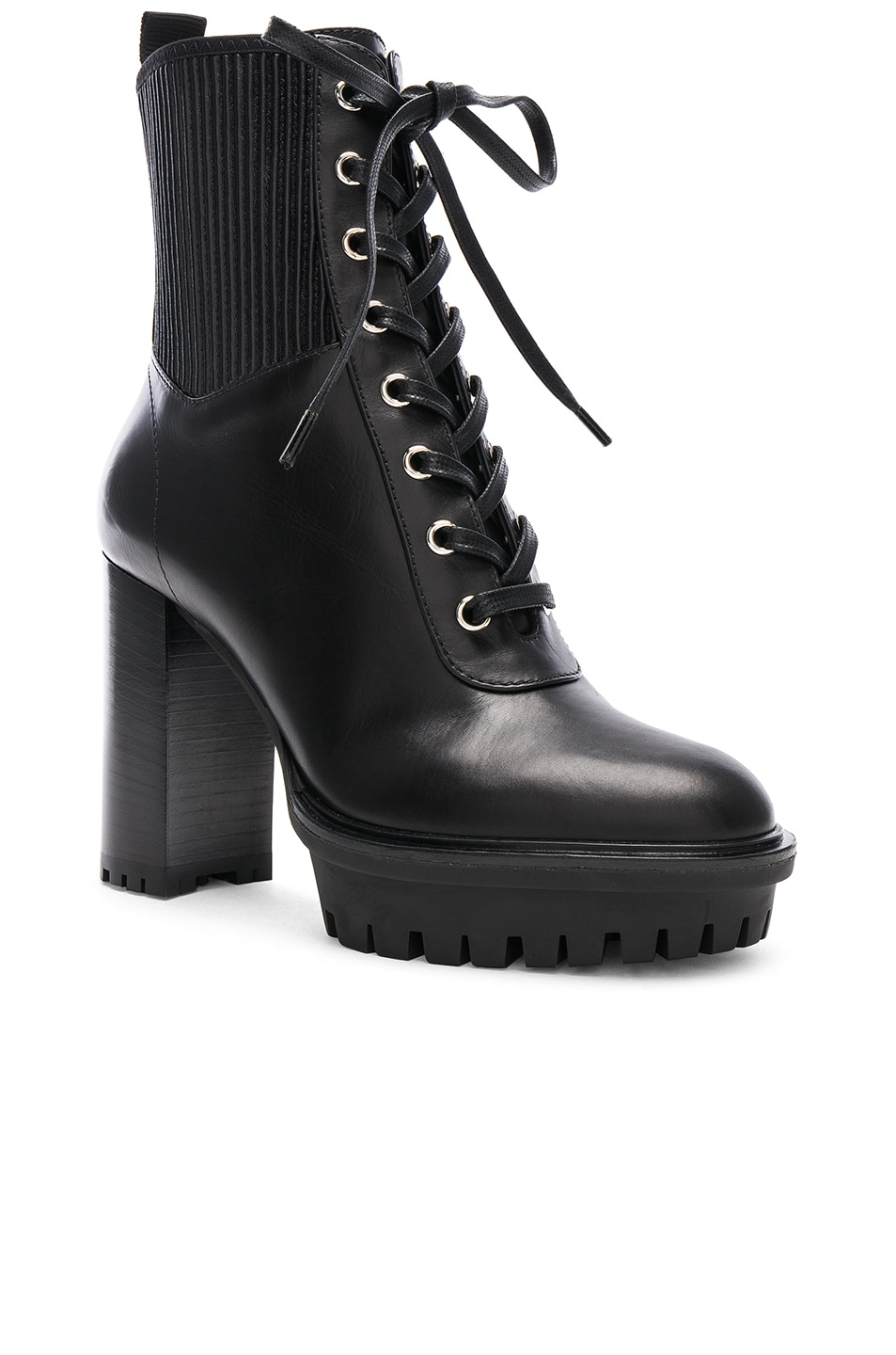 Image 2 of Gianvito Rossi Leather & Eco Stretch Martis Platform Ankle Boots in Black