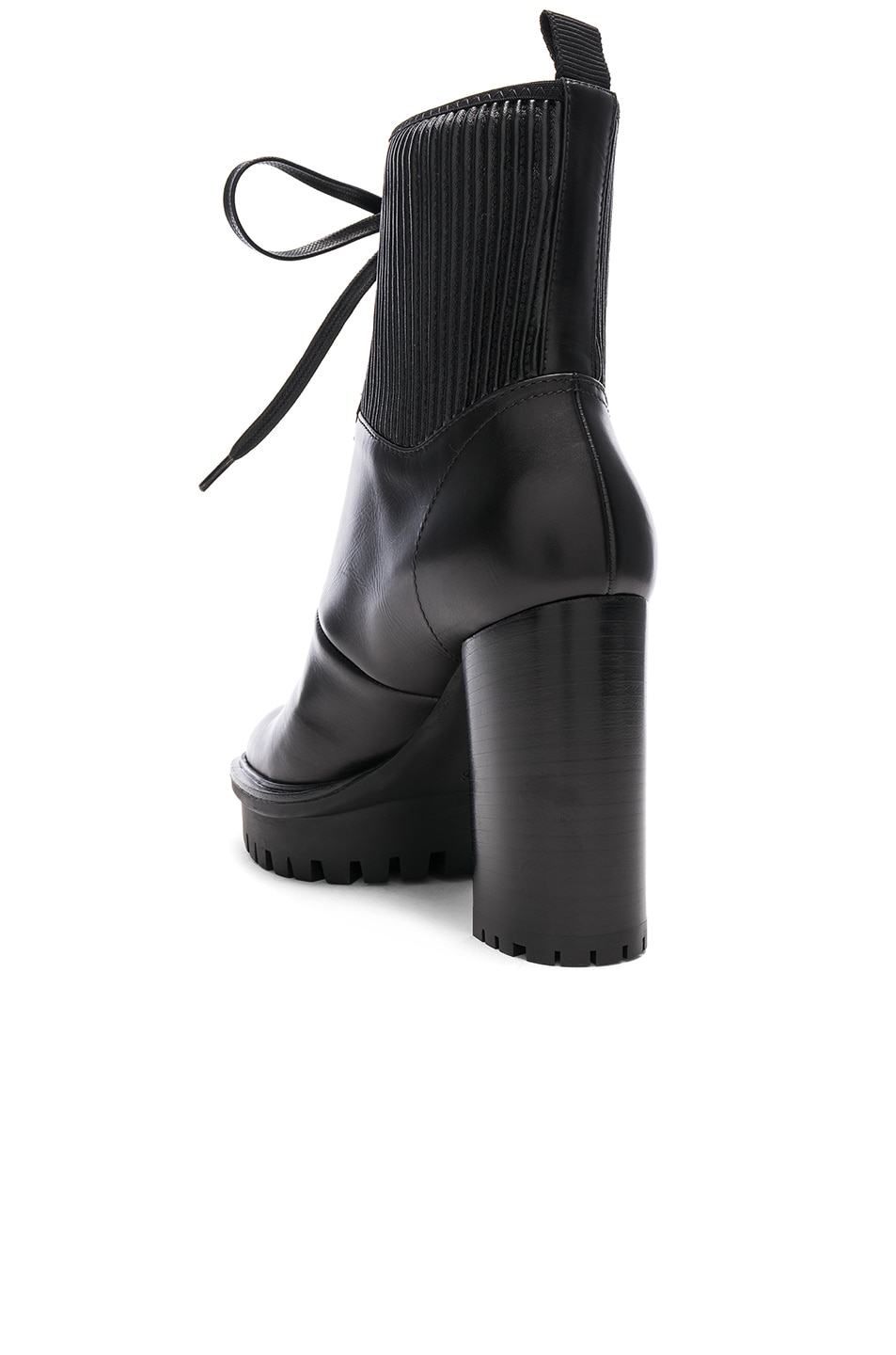 Image 3 of Gianvito Rossi Leather & Eco Stretch Martis Platform Ankle Boots in Black