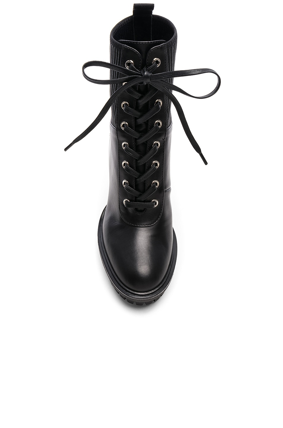 Image 4 of Gianvito Rossi Leather & Eco Stretch Martis Platform Ankle Boots in Black