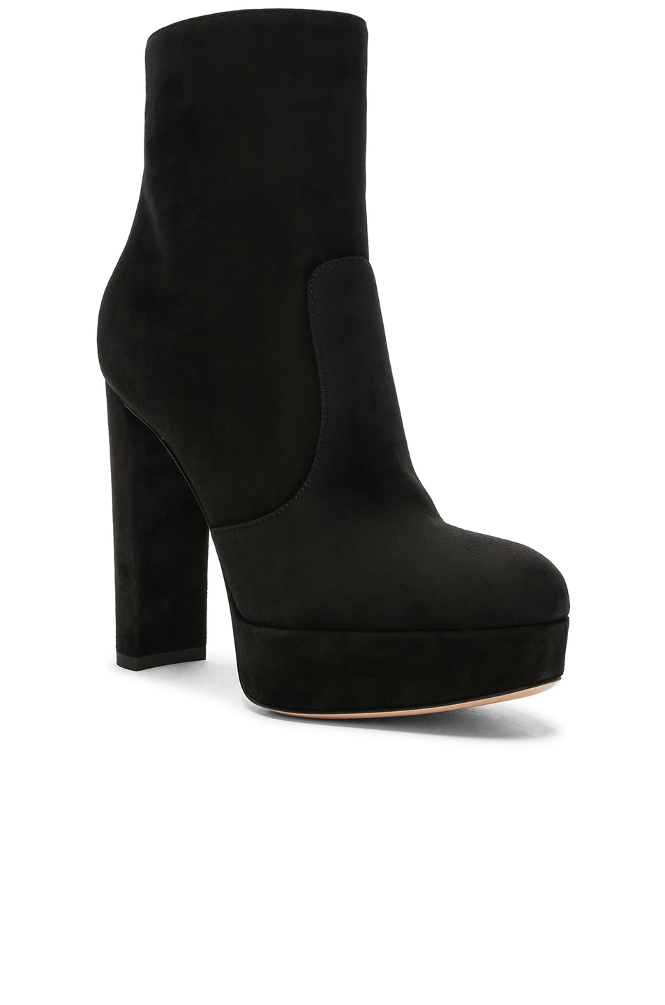 Image 2 of Gianvito Rossi Suede Brook Platform Ankle Boots in Black