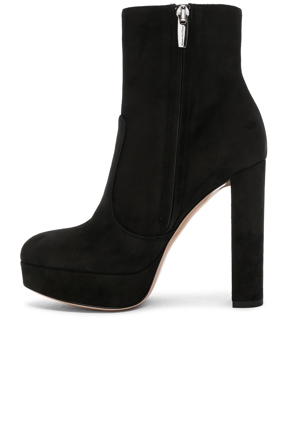 Image 5 of Gianvito Rossi Suede Brook Platform Ankle Boots in Black