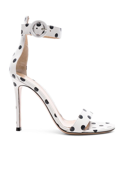 Image 1 of Gianvito Rossi Polka Dot Leather Portofino Sandals in White & Black