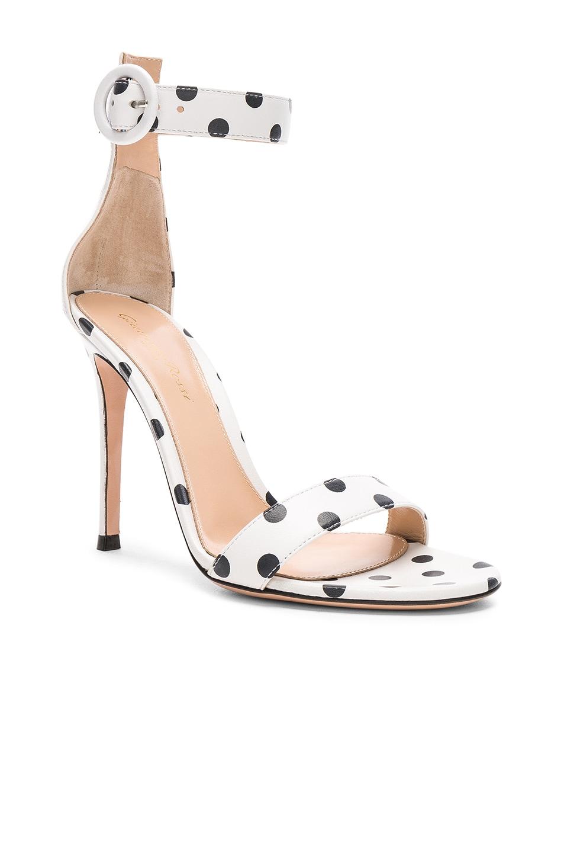 Image 2 of Gianvito Rossi Polka Dot Leather Portofino Sandals in White & Black