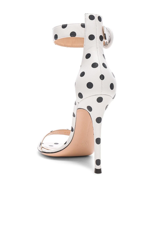 Image 3 of Gianvito Rossi Polka Dot Leather Portofino Sandals in White & Black