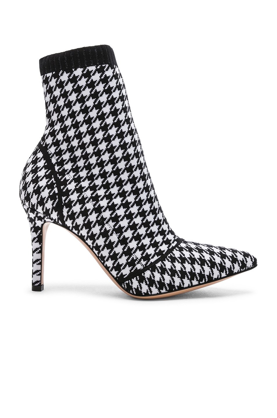 Image 1 of Gianvito Rossi Houndstooth Knit Ankle Boots in White & Black