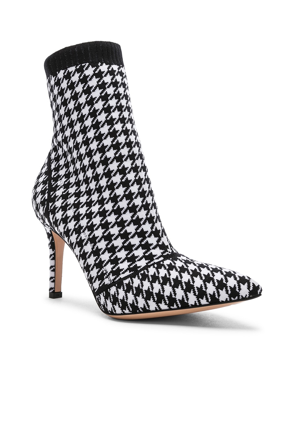 Image 2 of Gianvito Rossi Houndstooth Knit Ankle Boots in White & Black