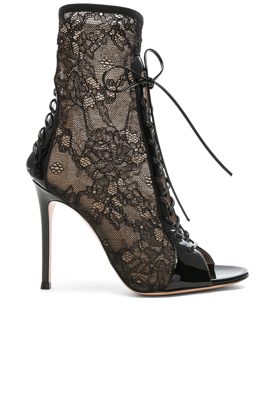 Image 1 of Gianvito Rossi Lurex & Patent Loulou Lace Up Ankle Boots in Black