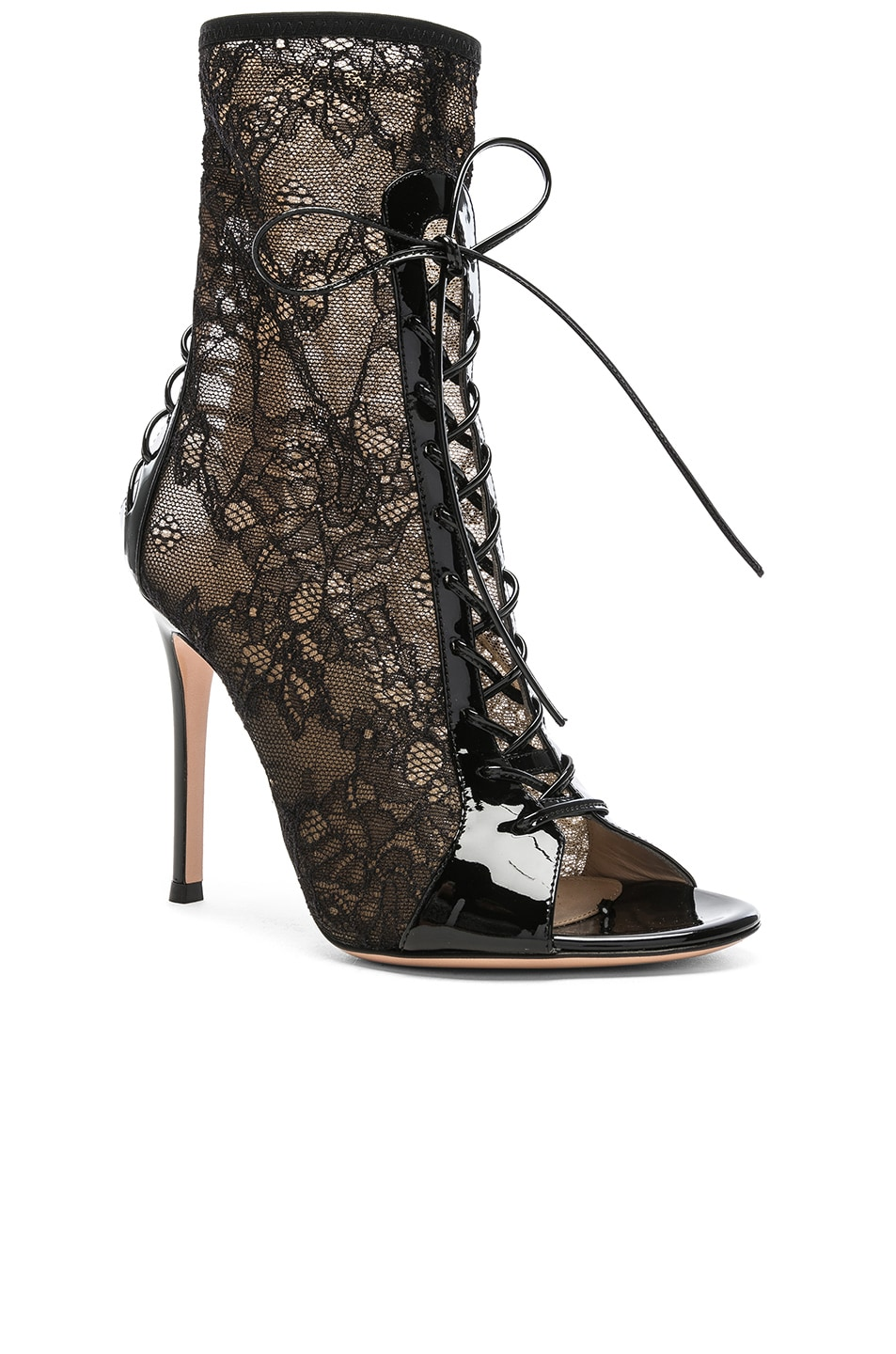 Image 2 of Gianvito Rossi Lurex & Patent Loulou Lace Up Ankle Boots in Black