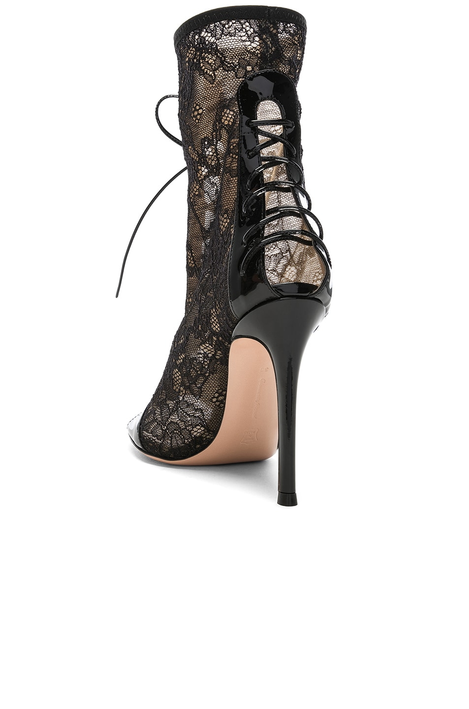 Image 3 of Gianvito Rossi Lurex & Patent Loulou Lace Up Ankle Boots in Black