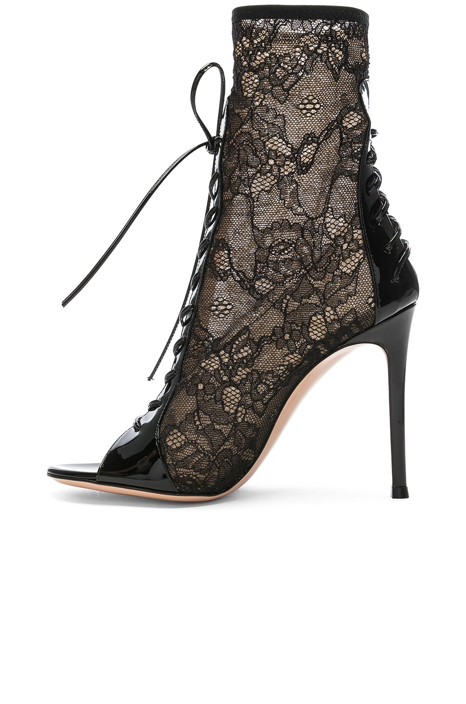 Image 5 of Gianvito Rossi Lurex & Patent Loulou Lace Up Ankle Boots in Black