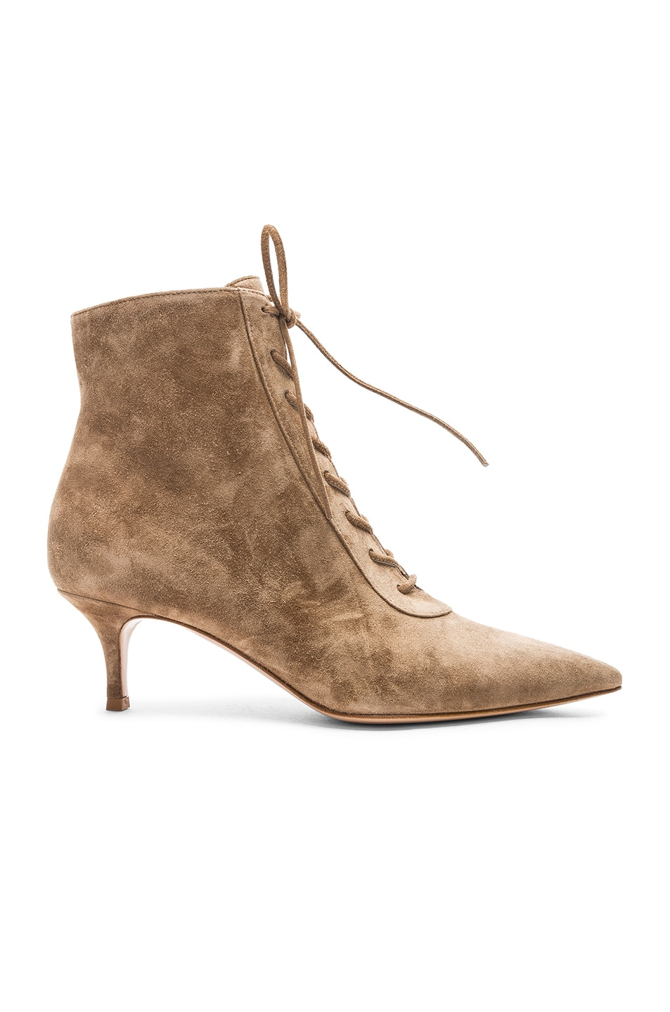 Image 1 of Gianvito Rossi Suede Kitten Heel Lace Up Ankle Boots in Camel