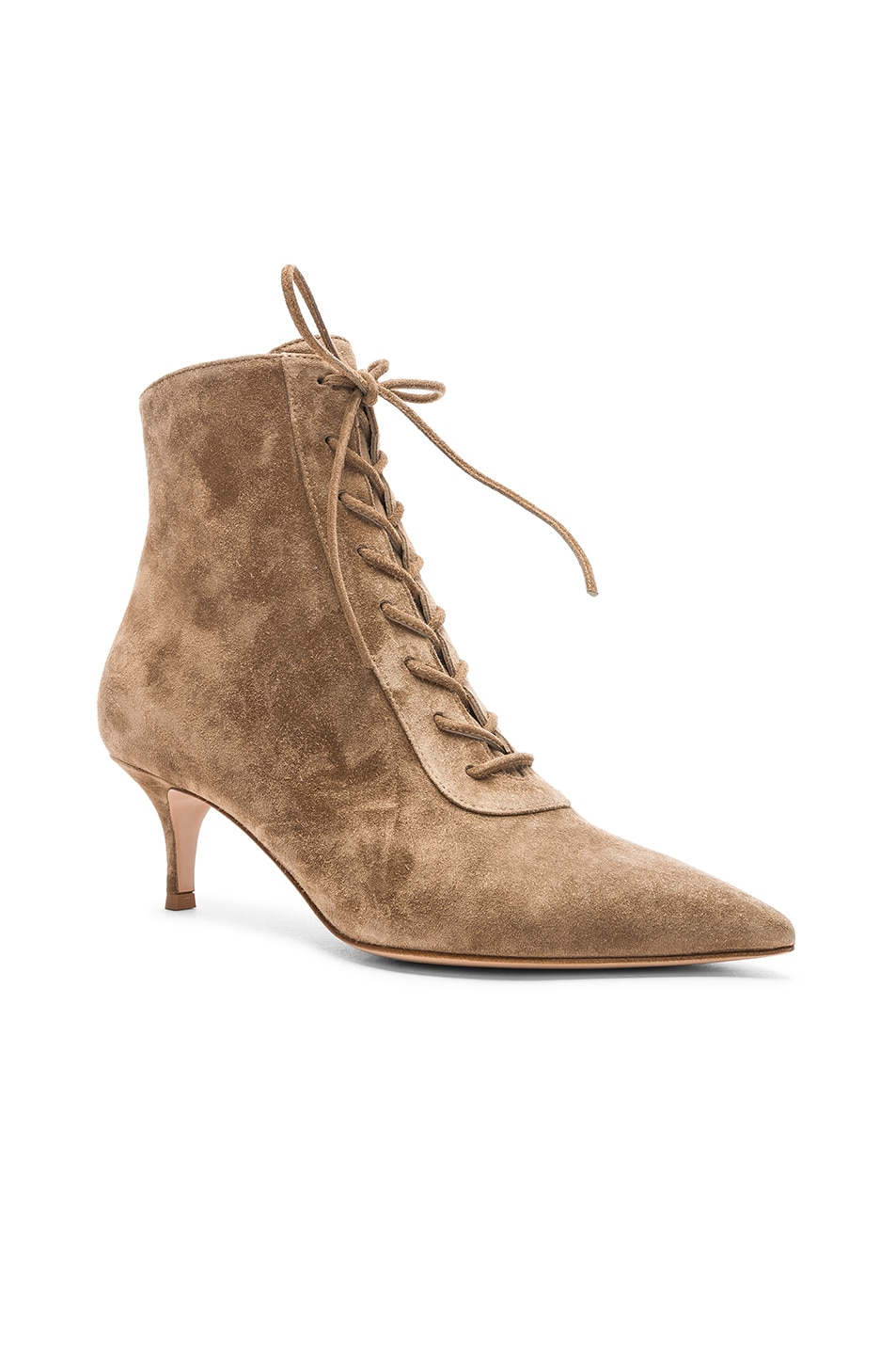 Image 2 of Gianvito Rossi Suede Kitten Heel Lace Up Ankle Boots in Camel