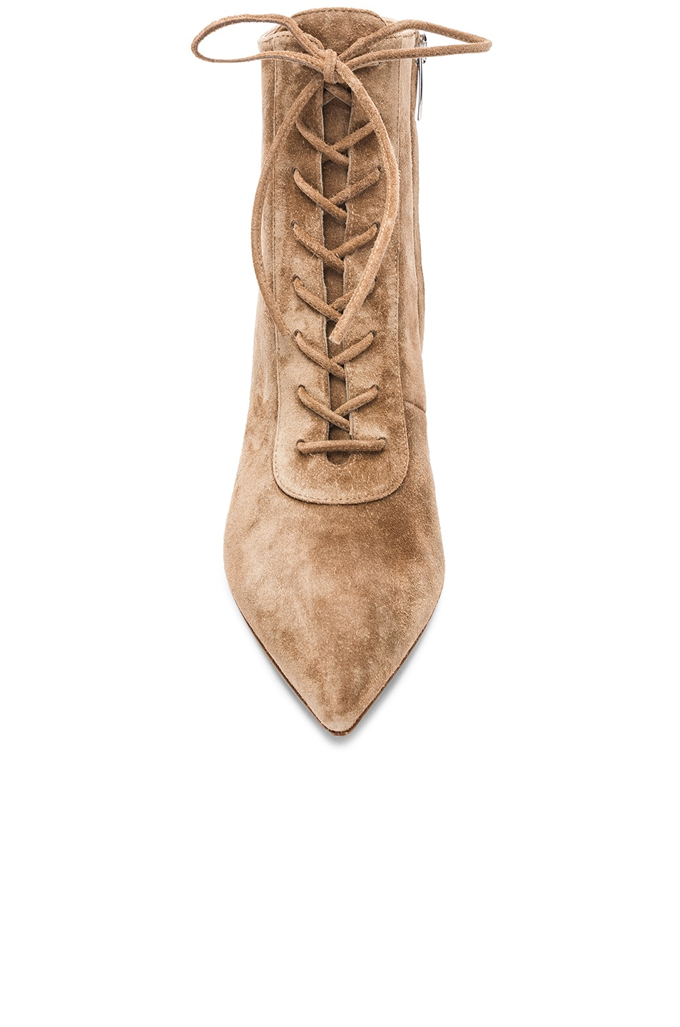 Image 4 of Gianvito Rossi Suede Kitten Heel Lace Up Ankle Boots in Camel