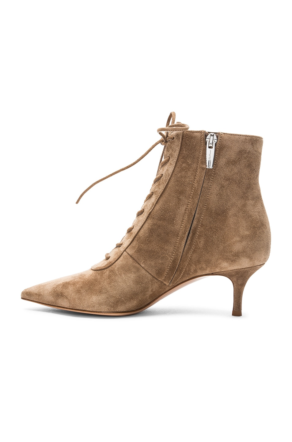Image 5 of Gianvito Rossi Suede Kitten Heel Lace Up Ankle Boots in Camel