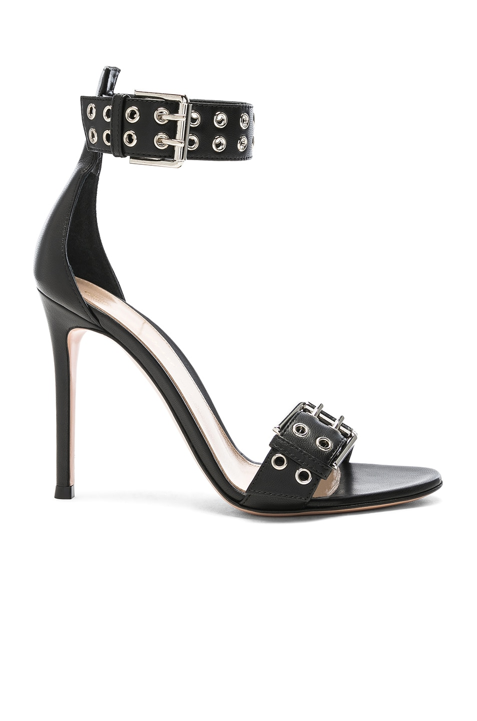 Image 1 of Gianvito Rossi Leather Buckle Ankle Strap Sandals in Black