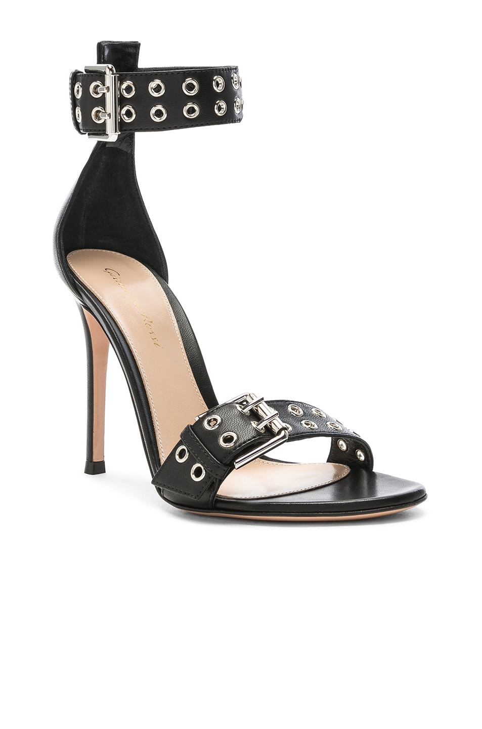 Image 2 of Gianvito Rossi Leather Buckle Ankle Strap Sandals in Black