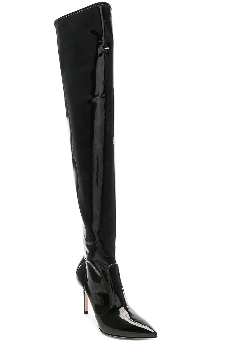 Image 2 of Gianvito Rossi Vinyl Gillian Thigh High Boots in Black
