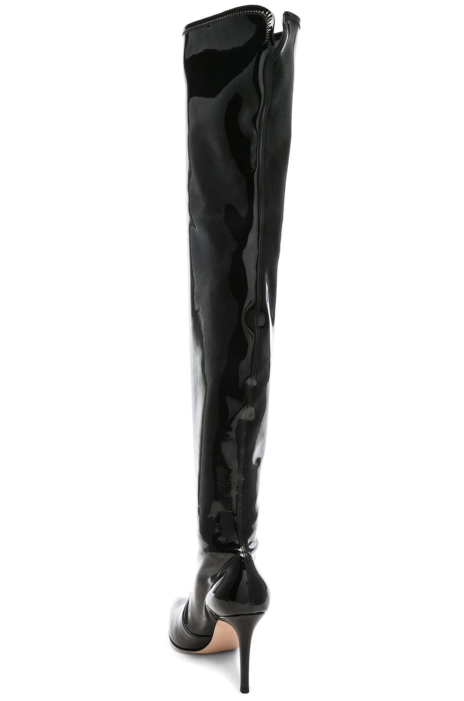 Image 3 of Gianvito Rossi Vinyl Gillian Thigh High Boots in Black