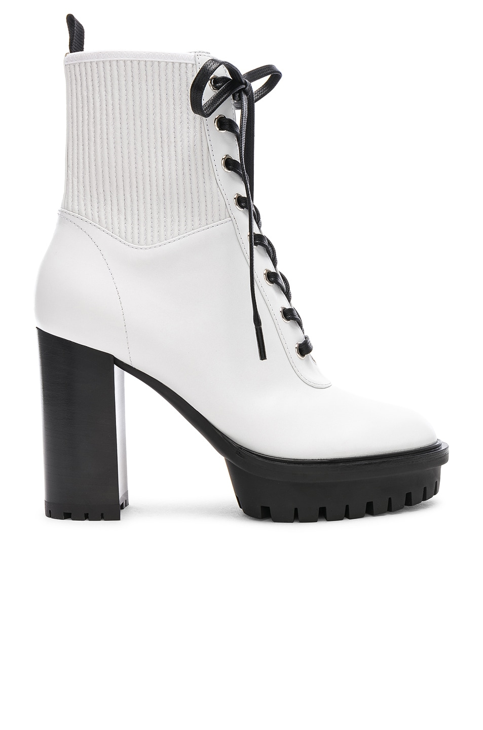 Image 1 of Gianvito Rossi Leather & Eco Stretch Martis Platform Ankle Boots in White