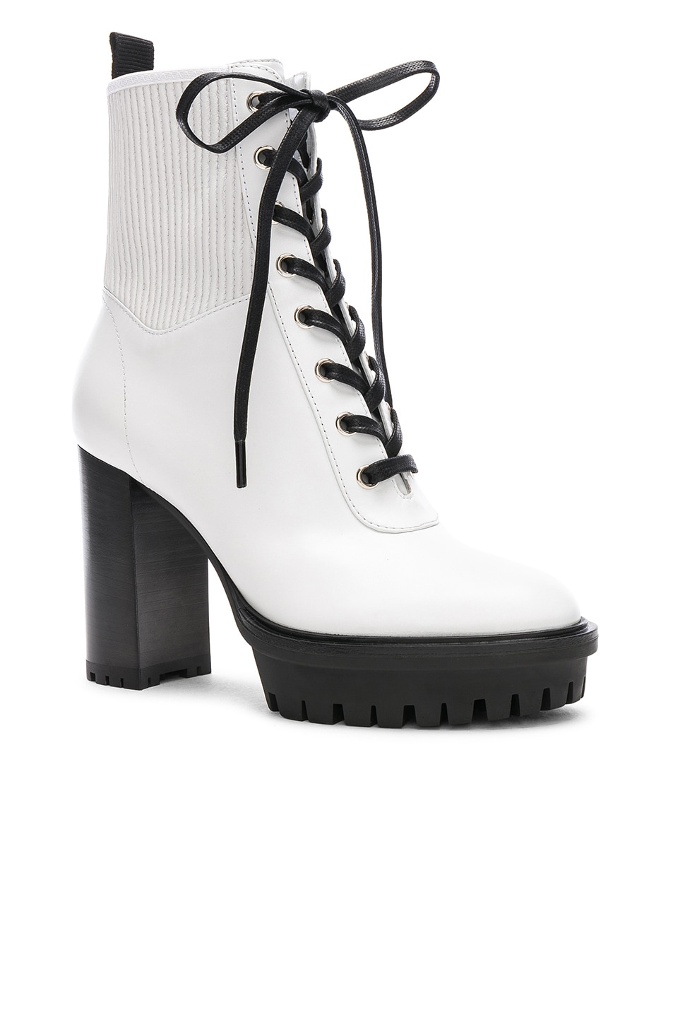 Image 2 of Gianvito Rossi Leather & Eco Stretch Martis Platform Ankle Boots in White