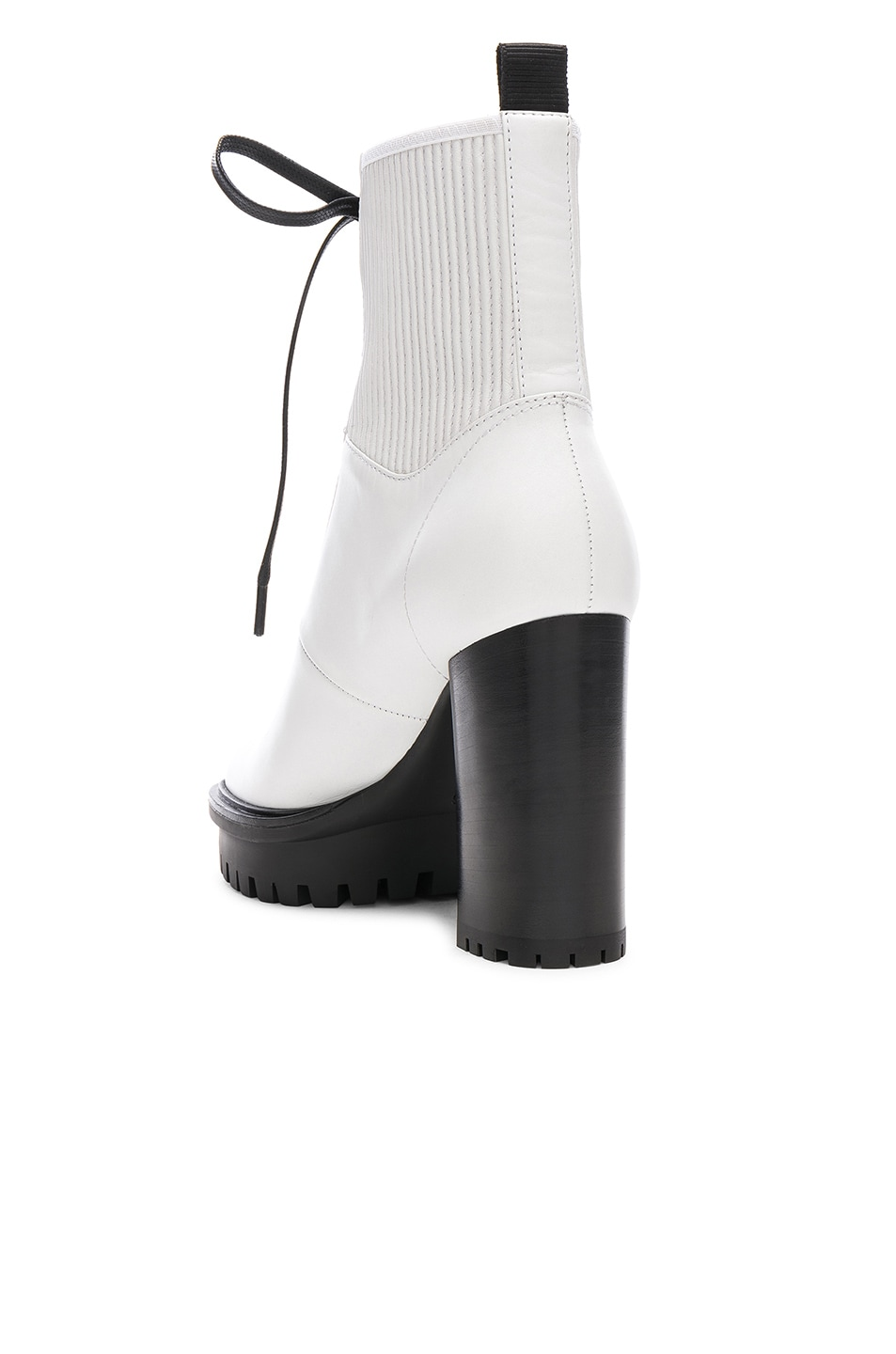 Image 3 of Gianvito Rossi Leather & Eco Stretch Martis Platform Ankle Boots in White