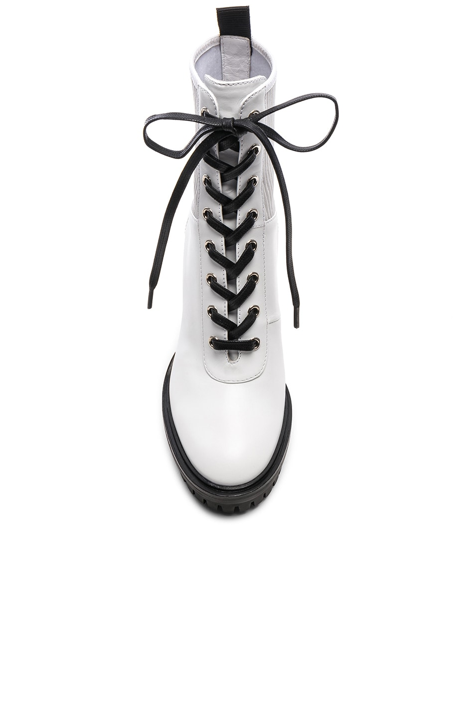 Image 4 of Gianvito Rossi Leather & Eco Stretch Martis Platform Ankle Boots in White