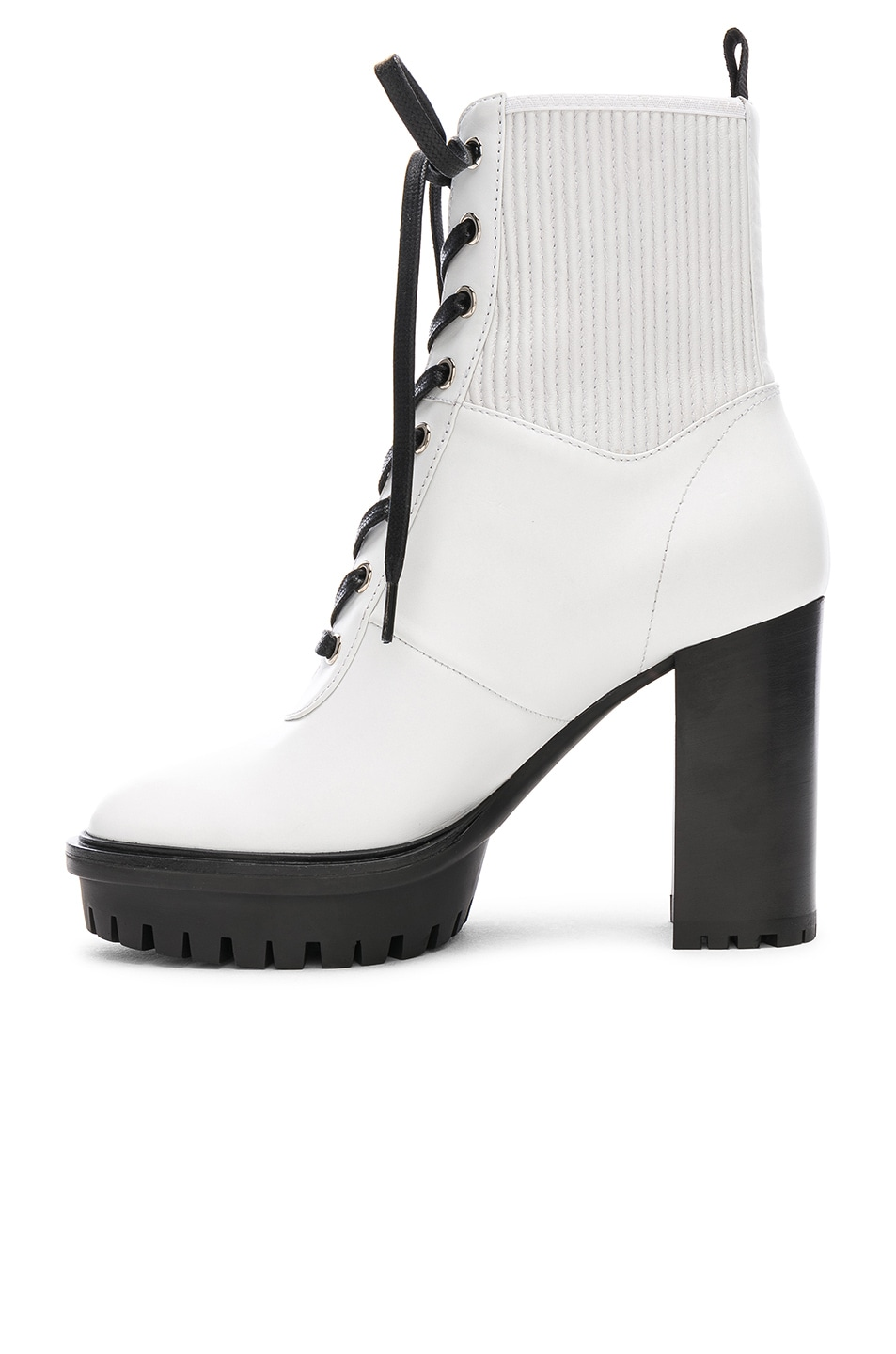Image 5 of Gianvito Rossi Leather & Eco Stretch Martis Platform Ankle Boots in White