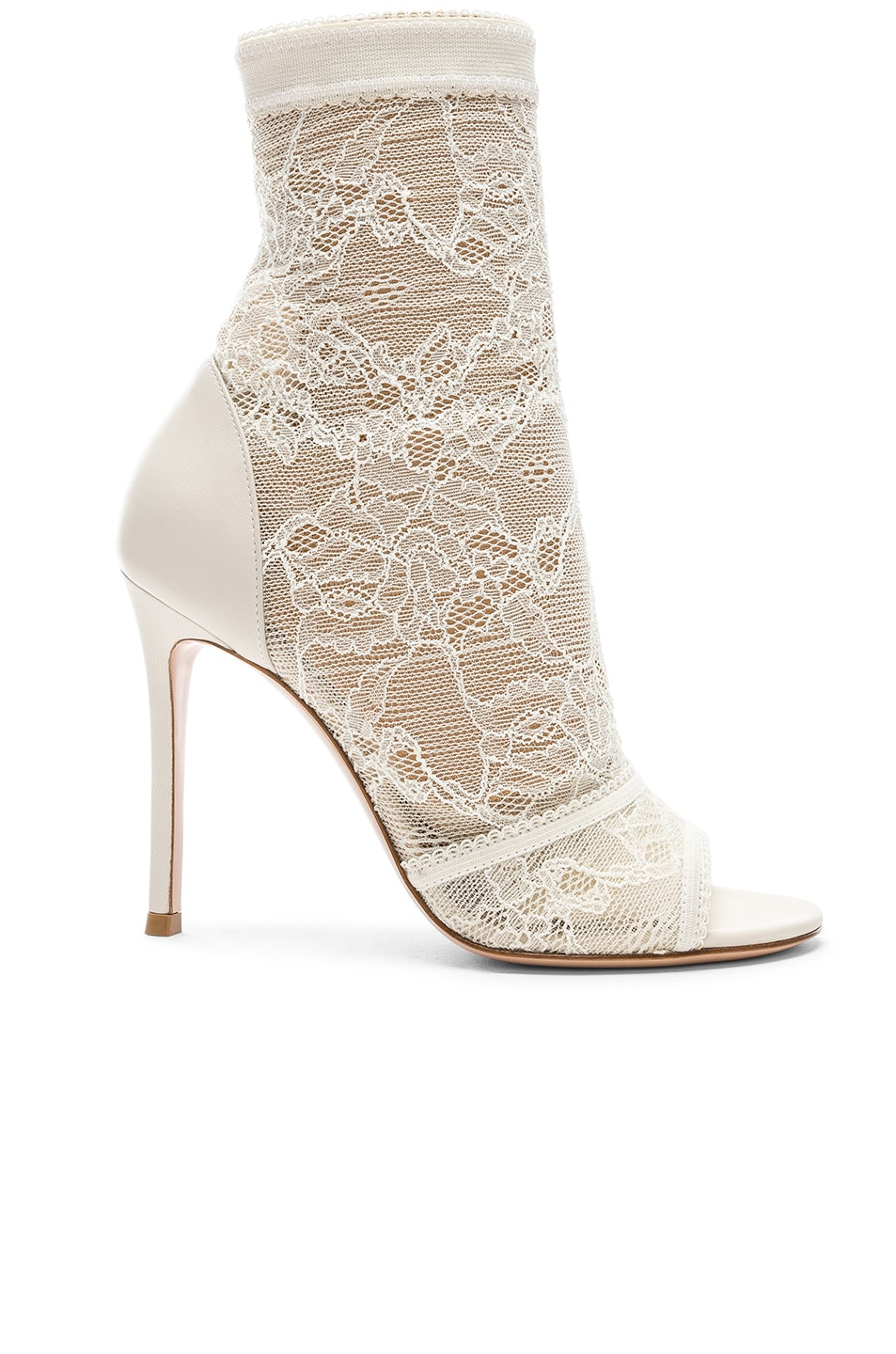 Image 1 of Gianvito Rossi Pizzo Stretch Nappa Ankle Booties in Off White